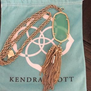 Kendra Scott long mint green tassel necklace